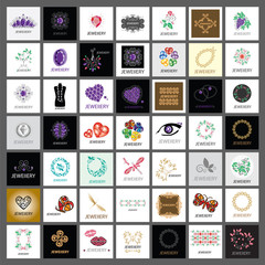 Collection of vector logos jewelry, gold jewelry