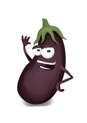 Happy aubergine cartoon