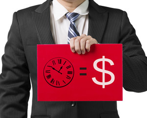 "Businessmanhold a red board with drawing ""time is money"" concept"