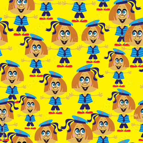 sailors girls seamless pattern
