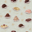 Seamless pattern with chocolate candies