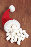 marshmallows in small santa hat
