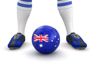 Man and soccer ball  with Australian flag