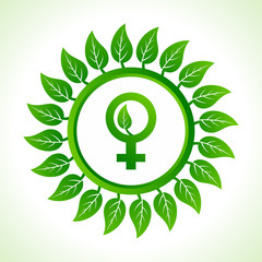 Eco female symbol inside the leaf background stock vector