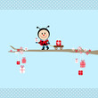Ladybug Gift Pulling Handcart Tree Blue Dots