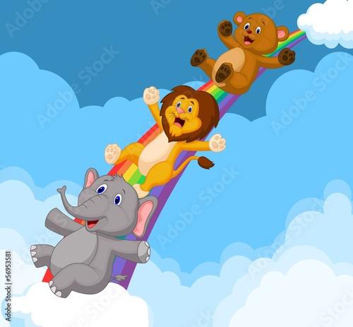 Naklejka Ilustracja Zwierząt zsuwaniu Rainbow