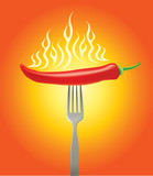 Hot red chilly pepper with fork