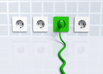 Ecological green plug into a socket