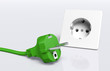 Green plug and socket