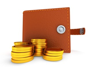 3d of open leather wallet and coins on white