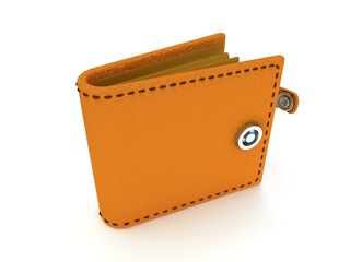 3d render of open leather wallet on white