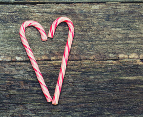 Candy canes in a heart shape