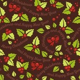 Christmas mistletoe seamless background