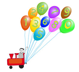 Train with numbers and colorful baloons