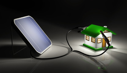 Solar panel charges a small house