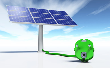 Solar panel with a green plug