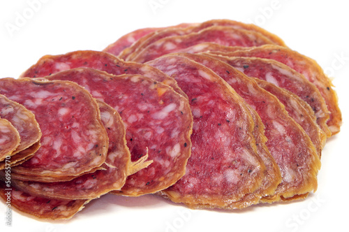 slices of salchichon, spanish cured sausage