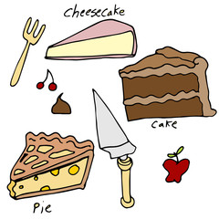 Cake and Pie Dessert Icon Set