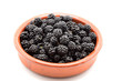 bowl of clay with Fresh Ripe Blackberries