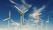Windkrafträder vor Himmel