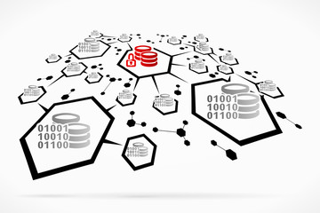 Binary encrypted abstract database network vector illustration