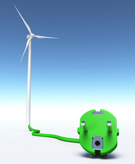 Wind generator with a green plug