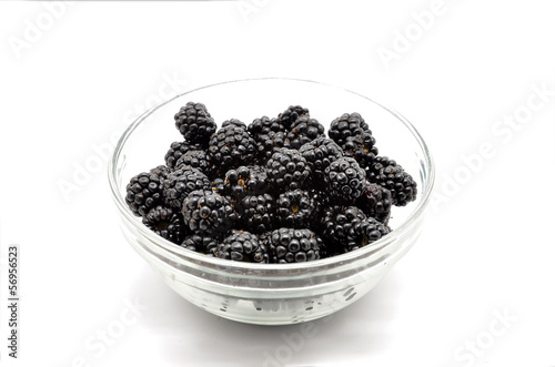 Glass container with Fresh Ripe Blackberries