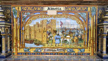 ceramic decoration in Plaza de Sevilla, Spain. Almeria theme.