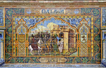Famous ceramic decoration in Sevilla, Spain. Malaga theme