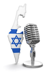 Microphone and Israel (clipping path included)