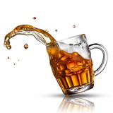 Beer splash in glass isolated on white