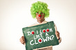 Clown with chalkboard