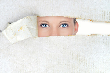Shy woman, hidden beauty