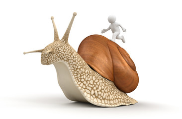 Snail and running man (clipping path included)