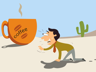 Hungry for coffee, businessman want to have coffee.