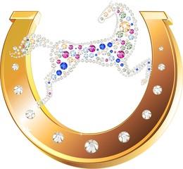 Golden horseshoe and  horse