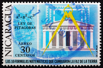 Postage stamp Nicaragua 1971 Pythagorean Theorem