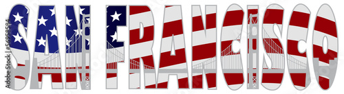 San Francisco Text Outline Golden Gate Bridge Illustration