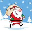 Santa Claus Cartoon Character Running With Bag