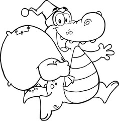 Black and White Crocodile Santa Character Running With Bag