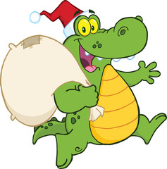 Crocodile Santa Cartoon Mascot Character Running With Bag