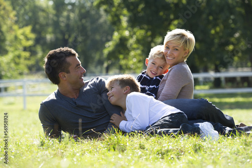 Family enjoying an outing together in the park