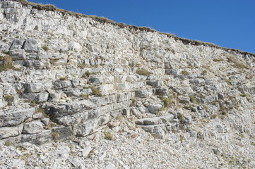 Wall of white stones