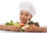 woman chef or cook and vegetables