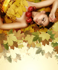 Perfect autumn beauty girl