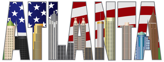 Atlanta Georgia Text Outline US Flag Color Vector