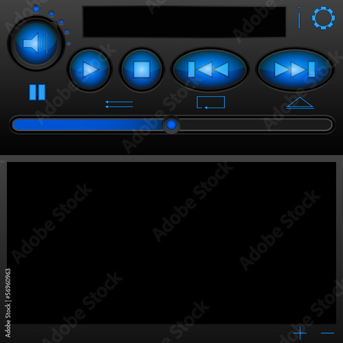 The player interface with blue buttons and a brilliant body