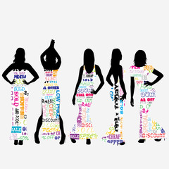 Sexy women dressed in typography dresses