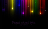 Multi-colored rainbow background with falling stars