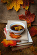 autumn still life with a cup of tea